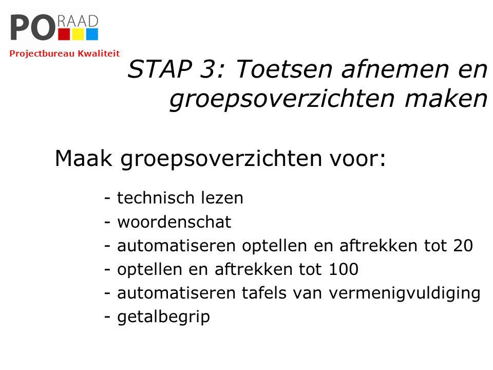 STAP 3: Toetsen afnemen en groepsoverzichten maken Maak groepsoverzichten voor: - technisch lezen - woordenschat - automatiseren optellen en aftrekken