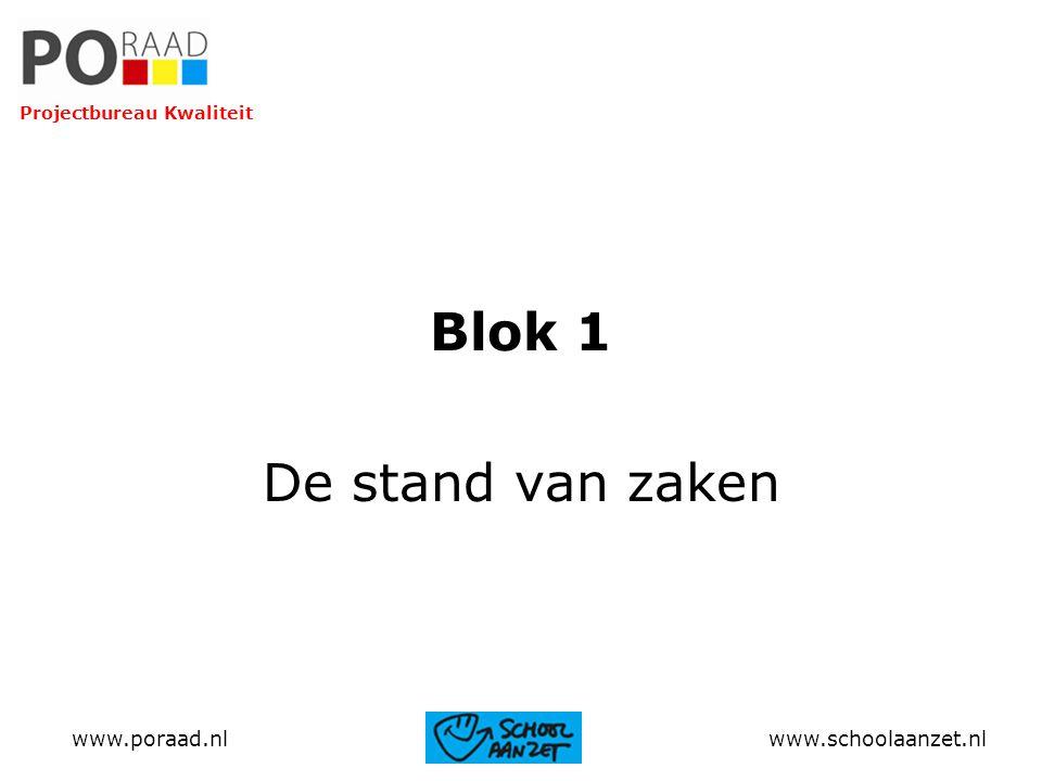 Blok 1 De stand van zaken www.poraad.nl www.schoolaanzet.nl Projectbureau Kwaliteit