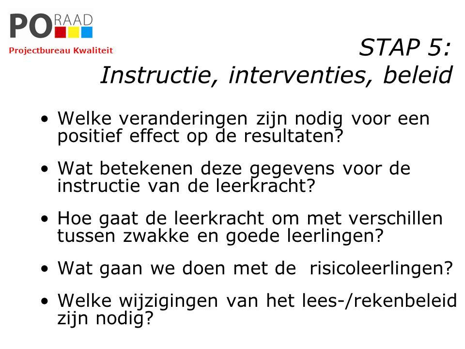 STAP 5: Instructie, interventies, beleid Welke veranderingen zijn nodig voor een positief effect op de resultaten? Wat betekenen deze gegevens voor de