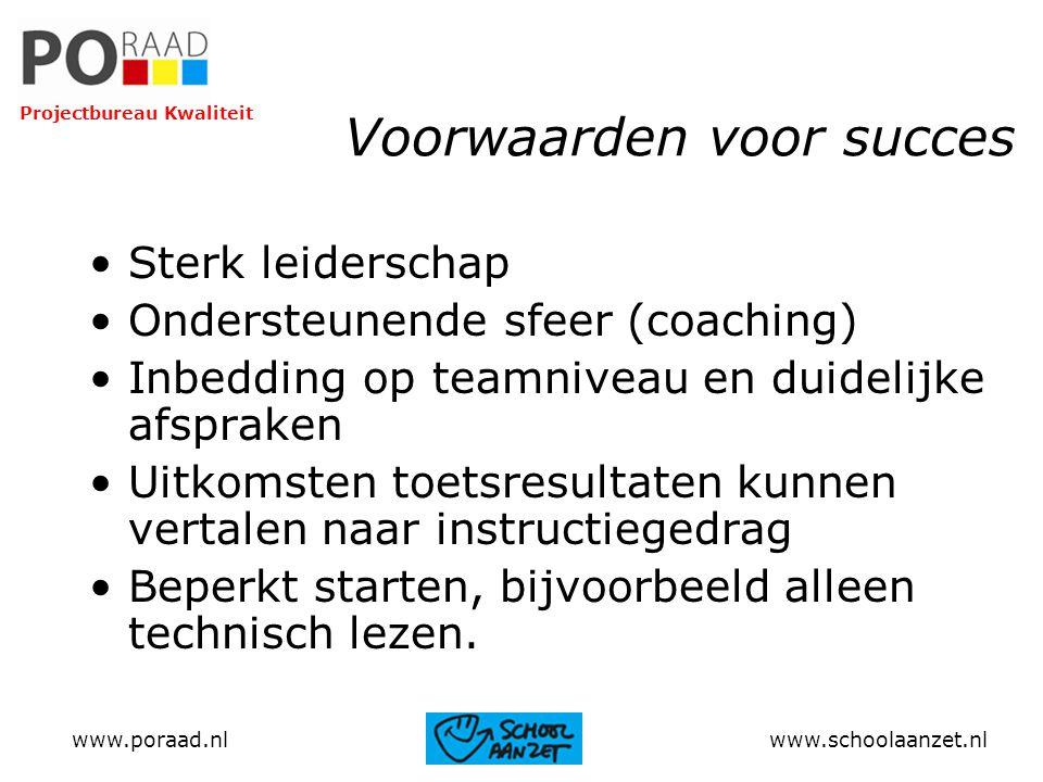 Voorwaarden voor succes Sterk leiderschap Ondersteunende sfeer (coaching) Inbedding op teamniveau en duidelijke afspraken Uitkomsten toetsresultaten k