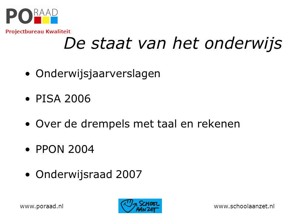 De staat van het onderwijs Onderwijsjaarverslagen PISA 2006 Over de drempels met taal en rekenen PPON 2004 Onderwijsraad 2007 www.poraad.nl www.school