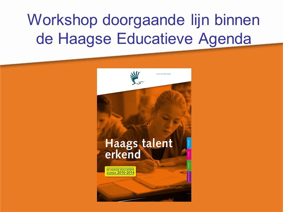 Workshop doorgaande lijn HEA Opbouw workshop Introductie en kennismaking Inleiding -ontwikkeling Haagse Educatieve Agenda -casus brede school Dilemma's Oplossingen