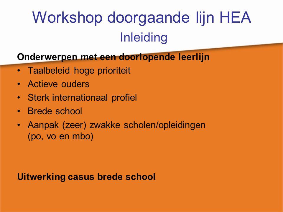Workshop doorgaande lijn HEA Inleiding Onderwerpen met een doorlopende leerlijn Taalbeleid hoge prioriteit Actieve ouders Sterk internationaal profiel