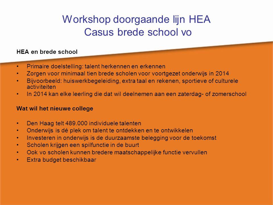 Workshop doorgaande lijn HEA Casus brede school vo HEA en brede school Primaire doelstelling: talent herkennen en erkennen Zorgen voor minimaal tien b