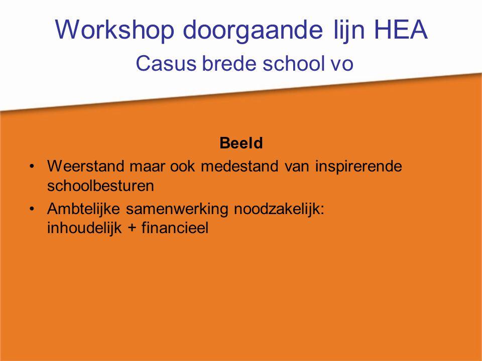 Workshop doorgaande lijn HEA Casus brede school vo Beeld Weerstand maar ook medestand van inspirerende schoolbesturen Ambtelijke samenwerking noodzake