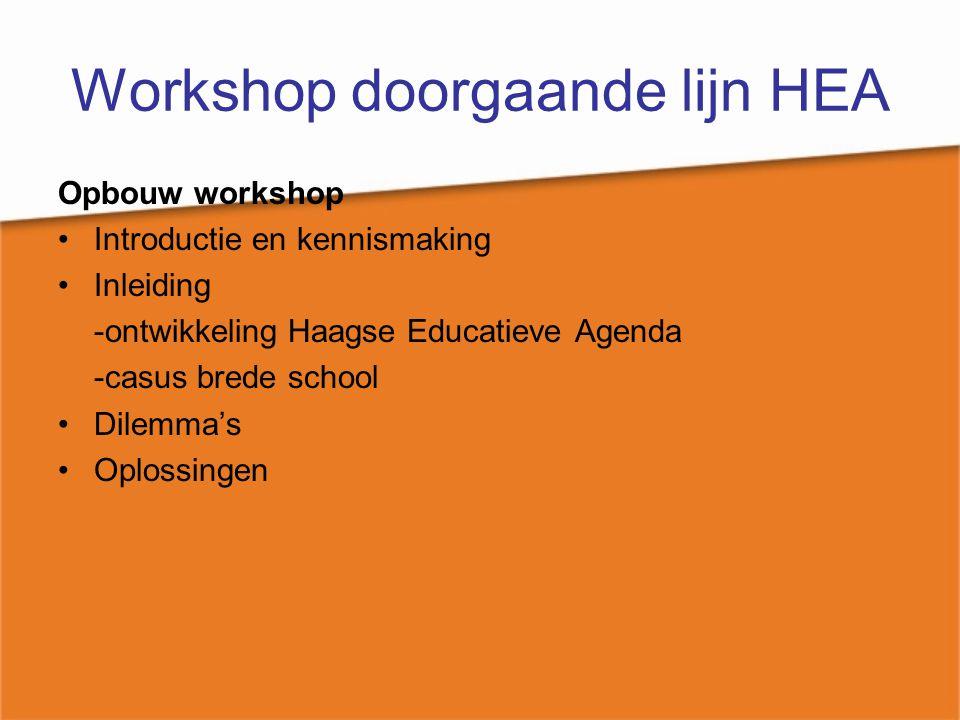 Workshop doorgaande lijn HEA Opbouw workshop Introductie en kennismaking Inleiding -ontwikkeling Haagse Educatieve Agenda -casus brede school Dilemma'