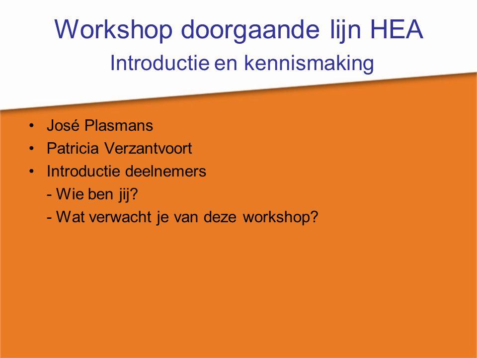 Workshop doorgaande lijn HEA Introductie en kennismaking José Plasmans Patricia Verzantvoort Introductie deelnemers - Wie ben jij? - Wat verwacht je v