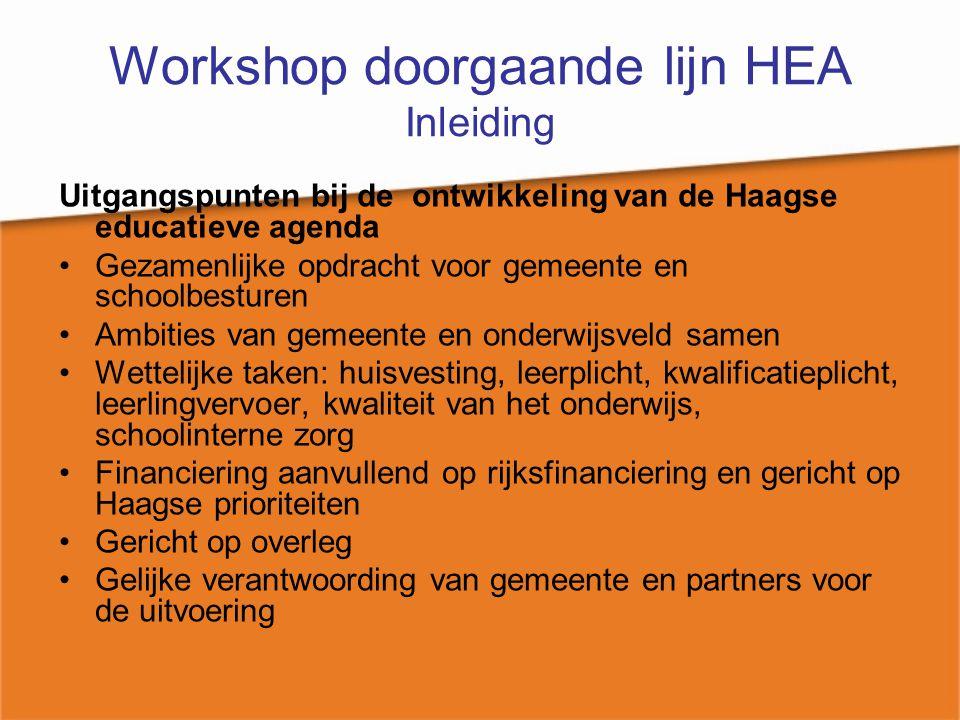 Workshop doorgaande lijn HEA Inleiding Overleg met de partners in de stad Partners zijn: schoolbesturen, welzijnsinstellingen, andere gemeentelijke diensten Overleg is gericht op: - het maken van afspraken - waar mogelijk stellen van meetbare doelen - instemming van alle partijen