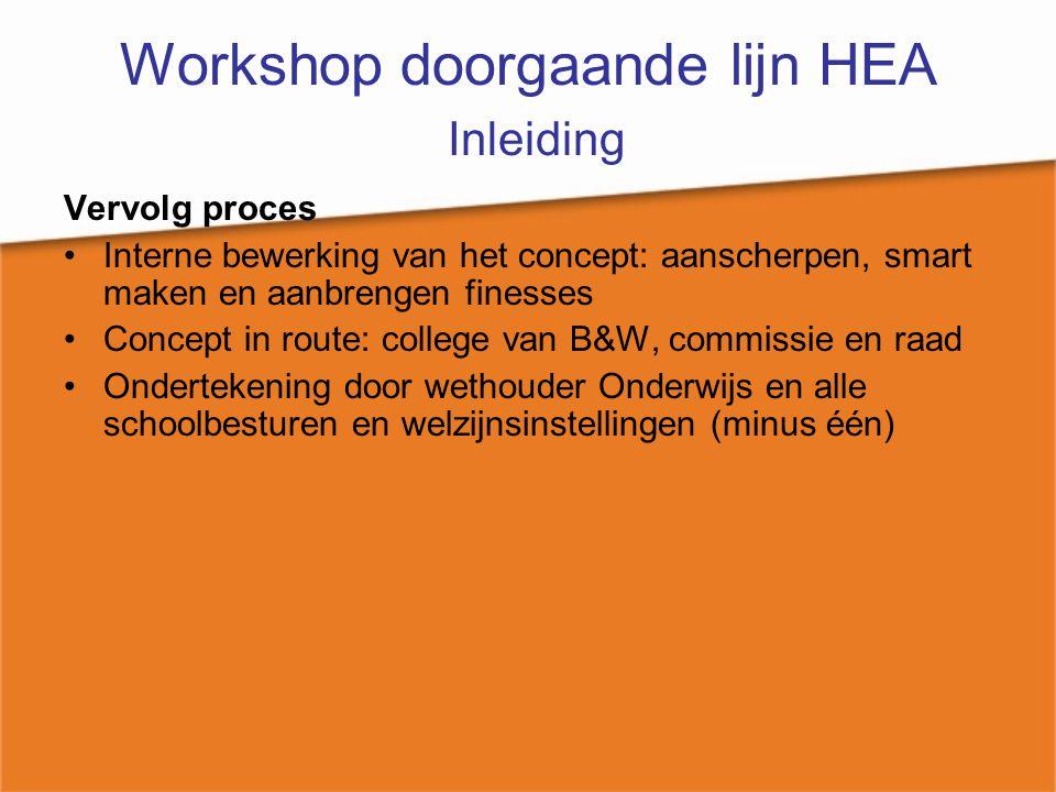 Workshop doorgaande lijn HEA dilemma's Dilemma's die we hebben ondervonden in Den Haag Intern geen eenduidige afspraken aan de start van het proces over taak – en rol verdeling en ontbreken van een startschot Vergroten draagvlak en participatie van partners en zijn alle relevante partners benaderd Inhuur van een externe organisatie.