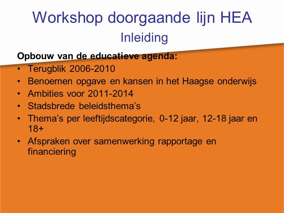 Workshop doorgaande lijn HEA Inleiding Opbouw van de educatieve agenda: Terugblik 2006-2010 Benoemen opgave en kansen in het Haagse onderwijs Ambities