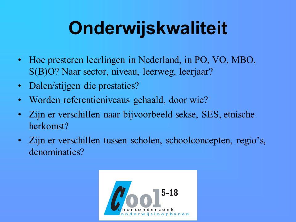 Onderwijskwaliteit Hoe presteren leerlingen in Nederland, in PO, VO, MBO, S(B)O.