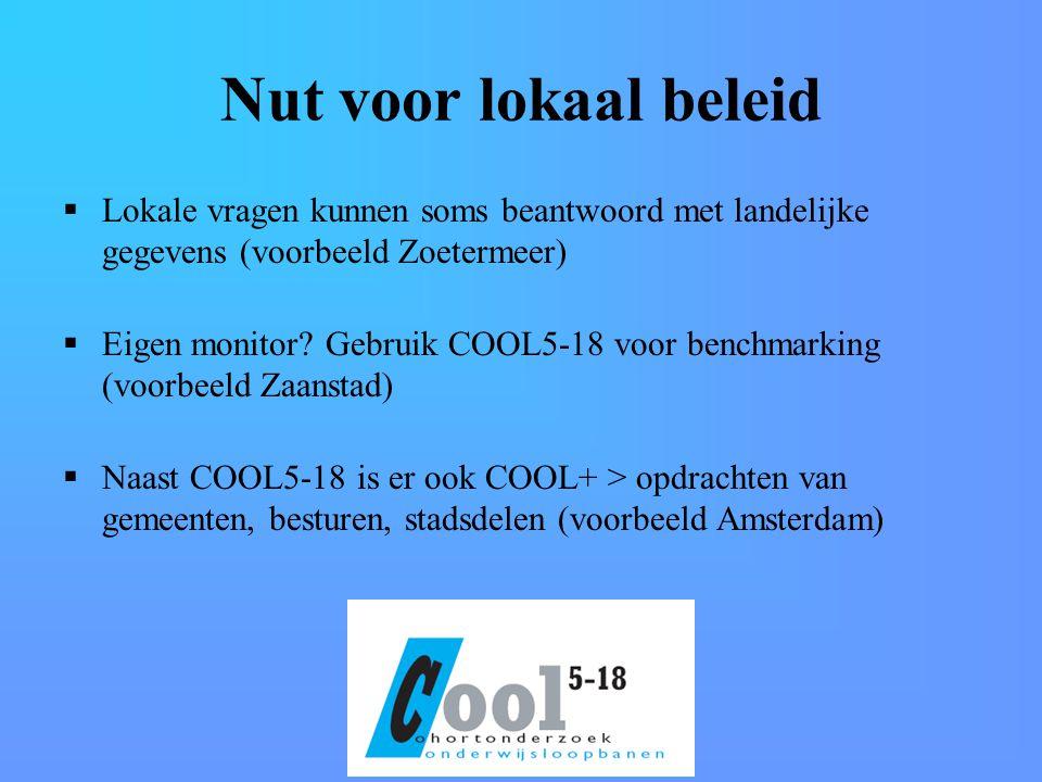 Nut voor lokaal beleid  Lokale vragen kunnen soms beantwoord met landelijke gegevens (voorbeeld Zoetermeer)  Eigen monitor.