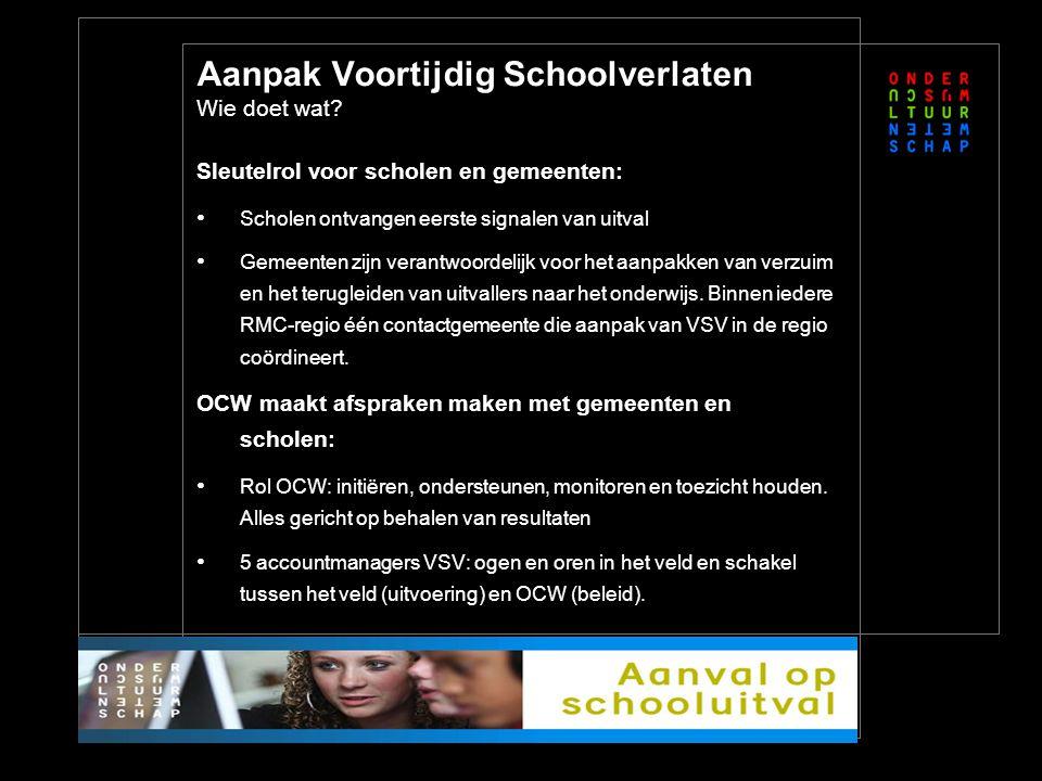 Sleutelrol voor scholen en gemeenten: Scholen ontvangen eerste signalen van uitval Gemeenten zijn verantwoordelijk voor het aanpakken van verzuim en het terugleiden van uitvallers naar het onderwijs.