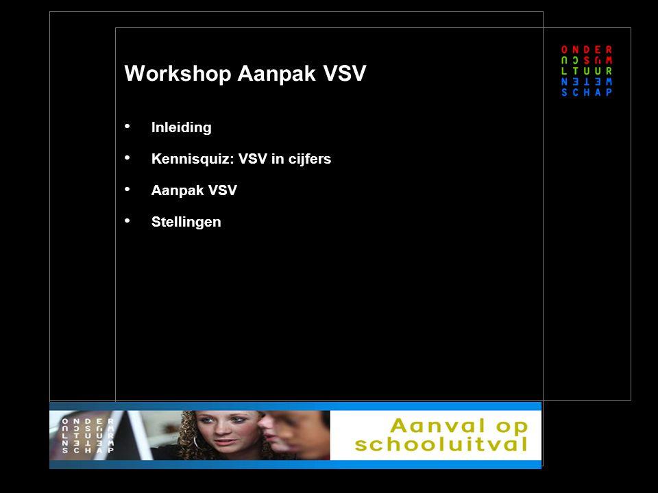 Workshop Aanpak VSV Inleiding Kennisquiz: VSV in cijfers Aanpak VSV Stellingen