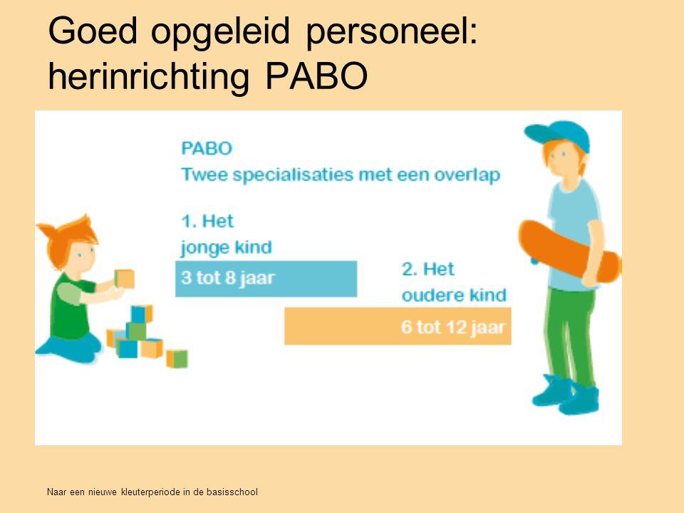 Naar een nieuwe kleuterperiode in de basisschool Goed opgeleid personeel: herinrichting PABO