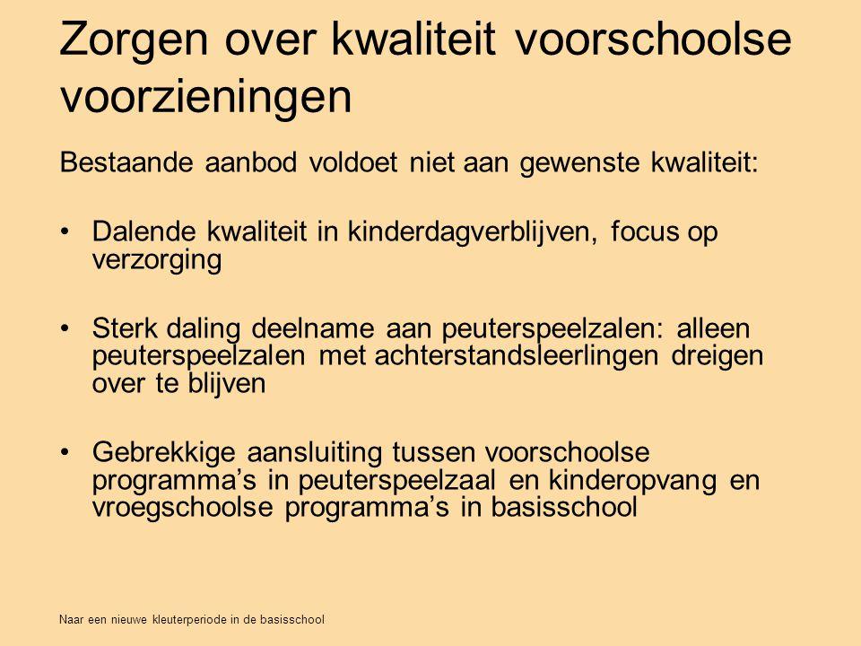 Naar een nieuwe kleuterperiode in de basisschool Zorgen over kwaliteit voorschoolse voorzieningen Bestaande aanbod voldoet niet aan gewenste kwaliteit