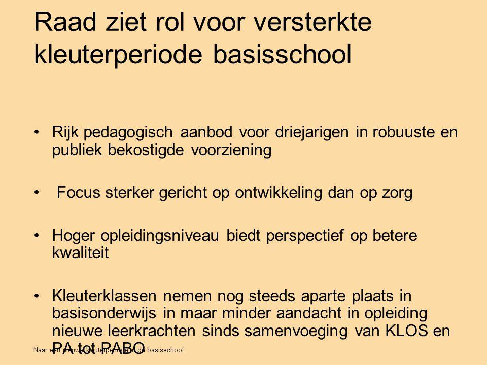 Naar een nieuwe kleuterperiode in de basisschool Raad ziet rol voor versterkte kleuterperiode basisschool Rijk pedagogisch aanbod voor driejarigen in