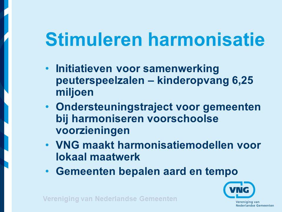 Vereniging van Nederlandse Gemeenten Stimuleren harmonisatie Initiatieven voor samenwerking peuterspeelzalen – kinderopvang 6,25 miljoen Ondersteuning