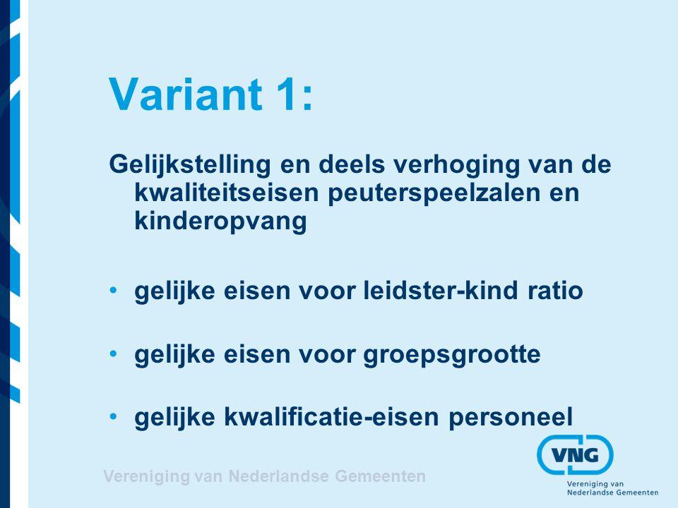 Vereniging van Nederlandse Gemeenten Variant 1: Gelijkstelling en deels verhoging van de kwaliteitseisen peuterspeelzalen en kinderopvang gelijke eise