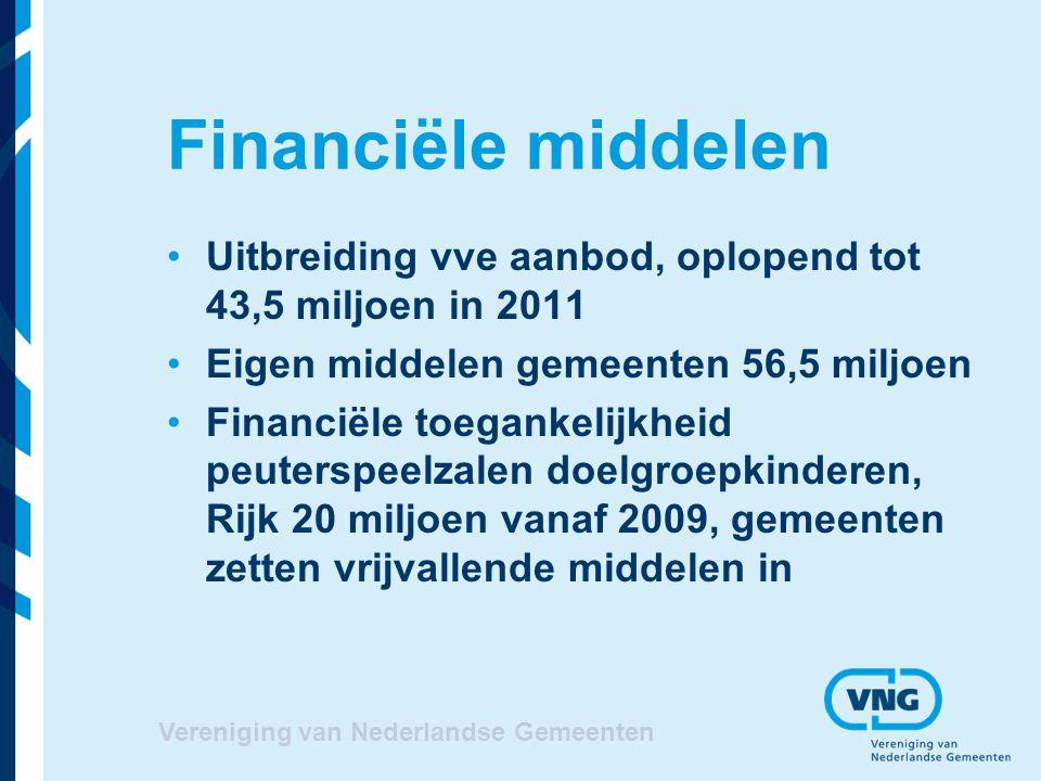 Vereniging van Nederlandse Gemeenten Financiële middelen Uitbreiding vve aanbod, oplopend tot 43,5 miljoen in 2011 Eigen middelen gemeenten 56,5 miljo
