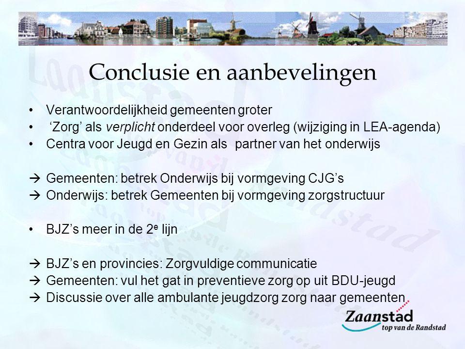 Conclusie en aanbevelingen Verantwoordelijkheid gemeenten groter 'Zorg' als verplicht onderdeel voor overleg (wijziging in LEA-agenda) Centra voor Jeu