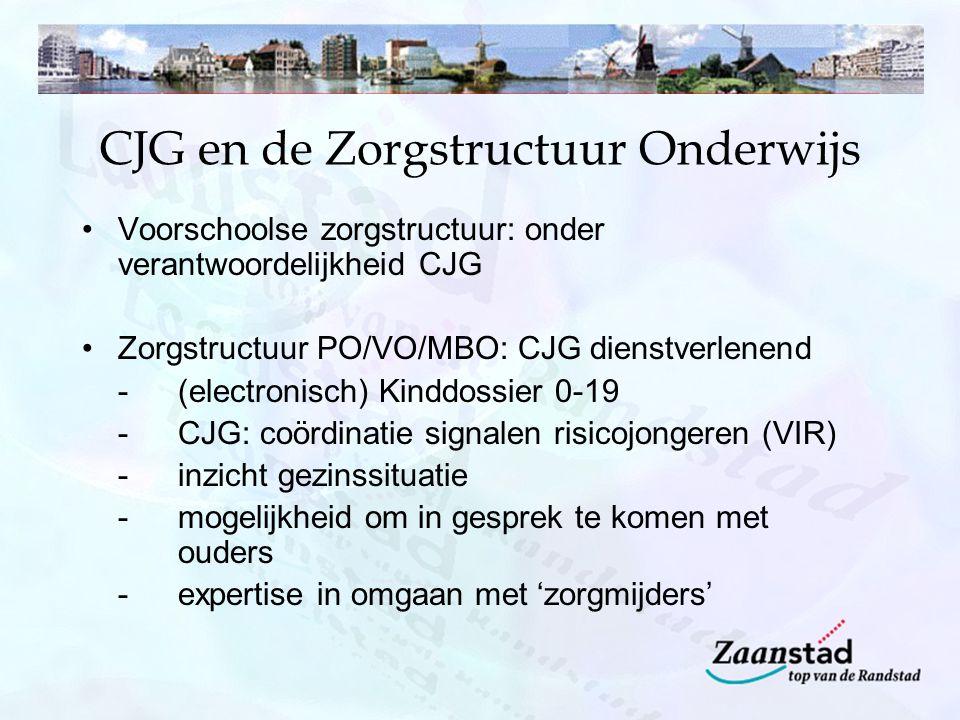 CJG en de Zorgstructuur Onderwijs Voorschoolse zorgstructuur: onder verantwoordelijkheid CJG Zorgstructuur PO/VO/MBO: CJG dienstverlenend - (electroni