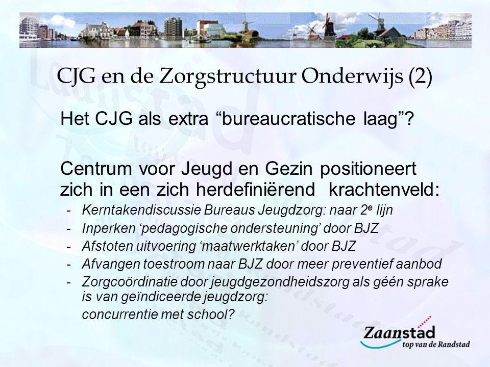 """CJG en de Zorgstructuur Onderwijs (2) Het CJG als extra """"bureaucratische laag""""? Centrum voor Jeugd en Gezin positioneert zich in een zich herdefiniëre"""