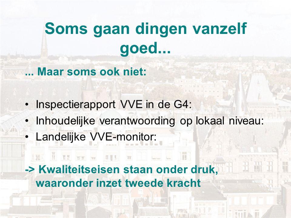 Soms gaan dingen vanzelf goed...... Maar soms ook niet: Inspectierapport VVE in de G4: Inhoudelijke verantwoording op lokaal niveau: Landelijke VVE-mo