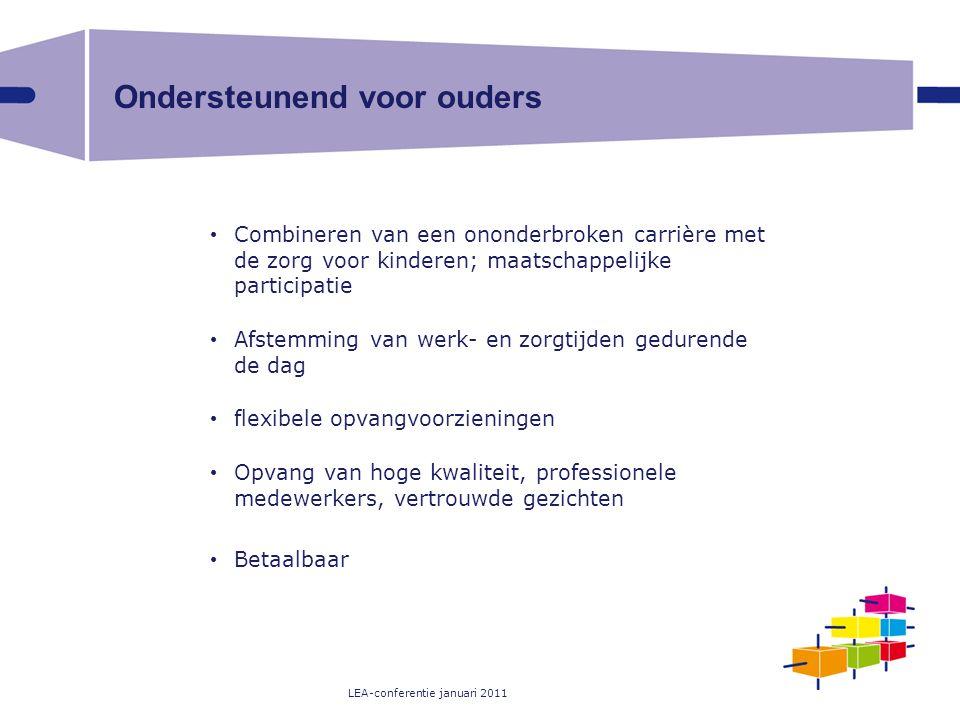 LEA-conferentie januari 2011 Ondersteunend voor ouders Combineren van een ononderbroken carrière met de zorg voor kinderen; maatschappelijke participa