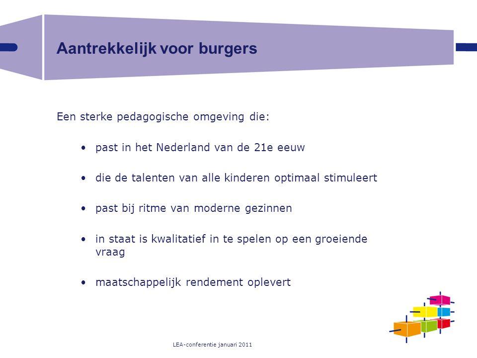 LEA-conferentie januari 2011 Aantrekkelijk voor burgers Een sterke pedagogische omgeving die: past in het Nederland van de 21e eeuw die de talenten va