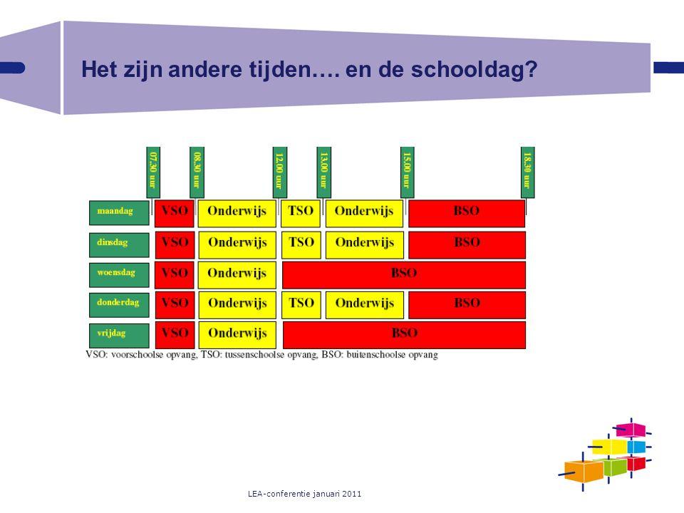 LEA-conferentie januari 2011 Het zijn andere tijden…. en de schooldag?