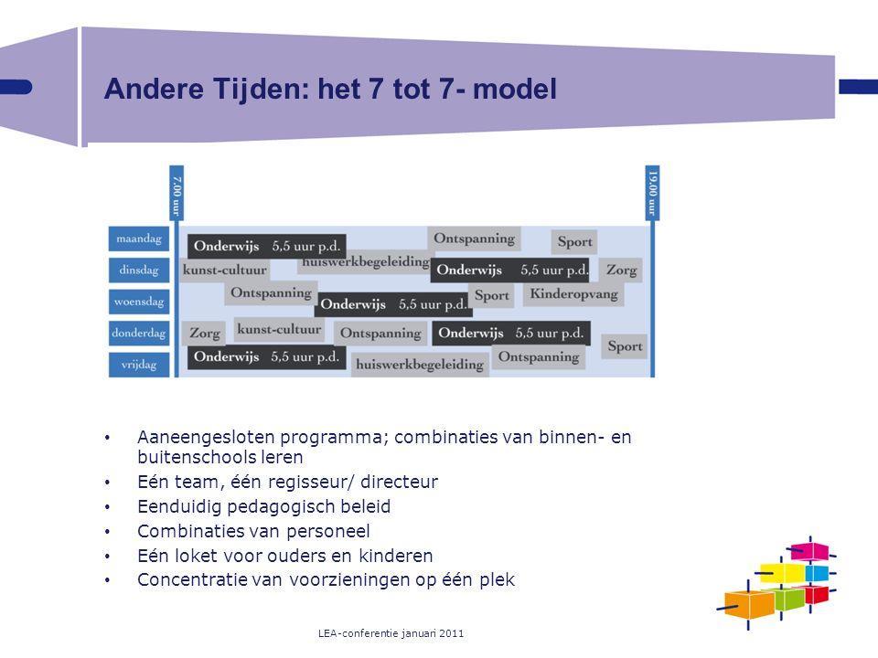 Andere Tijden: het 7 tot 7- model Aaneengesloten programma; combinaties van binnen- en buitenschools leren Eén team, één regisseur/ directeur Eenduidi