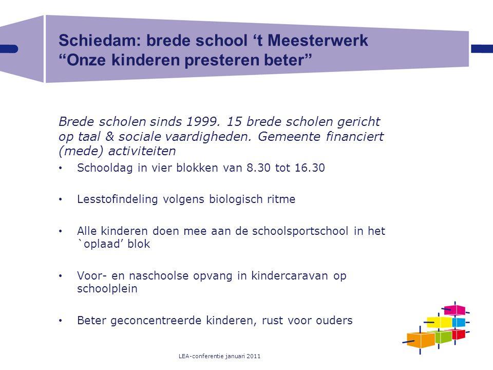 """Schiedam: brede school 't Meesterwerk """"Onze kinderen presteren beter"""" Brede scholen sinds 1999. 15 brede scholen gericht op taal & sociale vaardighede"""