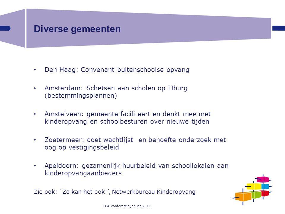 Diverse gemeenten Den Haag: Convenant buitenschoolse opvang Amsterdam: Schetsen aan scholen op IJburg (bestemmingsplannen) Amstelveen: gemeente facili
