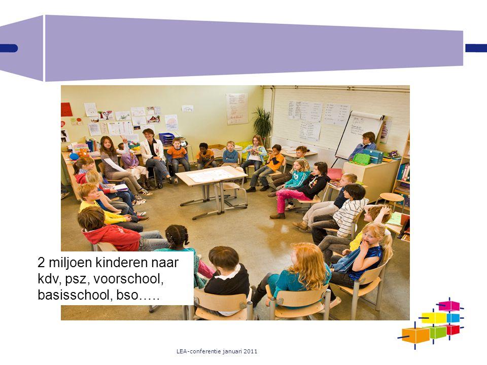 LEA-conferentie januari 2011 2 miljoen kinderen naar kdv, psz, voorschool, basisschool, bso…..