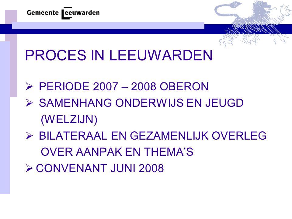 PROCES IN LEEUWARDEN  PERIODE 2007 – 2008 OBERON  SAMENHANG ONDERWIJS EN JEUGD (WELZIJN)  BILATERAAL EN GEZAMENLIJK OVERLEG OVER AANPAK EN THEMA'S
