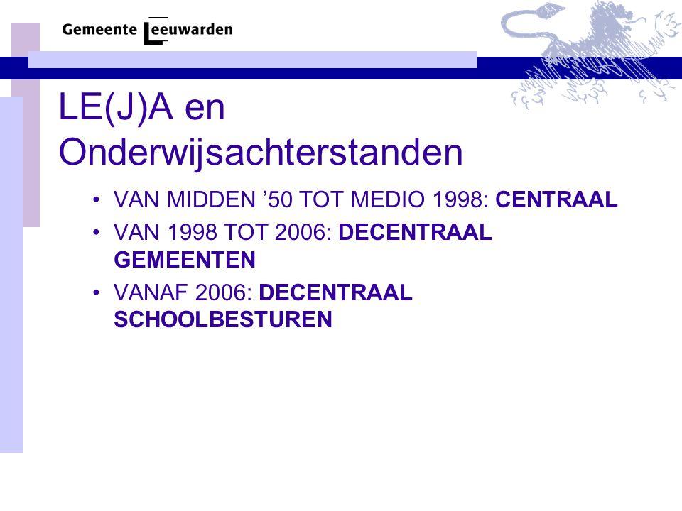 LE(J)A en Onderwijsachterstanden VAN MIDDEN '50 TOT MEDIO 1998: CENTRAAL VAN 1998 TOT 2006: DECENTRAAL GEMEENTEN VANAF 2006: DECENTRAAL SCHOOLBESTUREN
