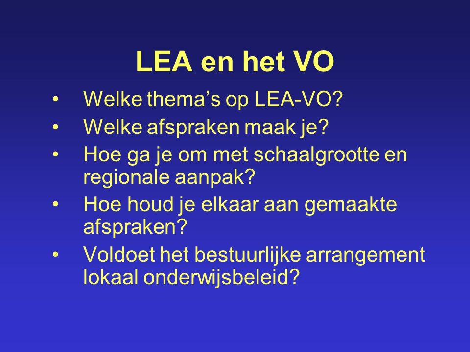 LEA en het VO Welke thema's op LEA-VO? Welke afspraken maak je? Hoe ga je om met schaalgrootte en regionale aanpak? Hoe houd je elkaar aan gemaakte af