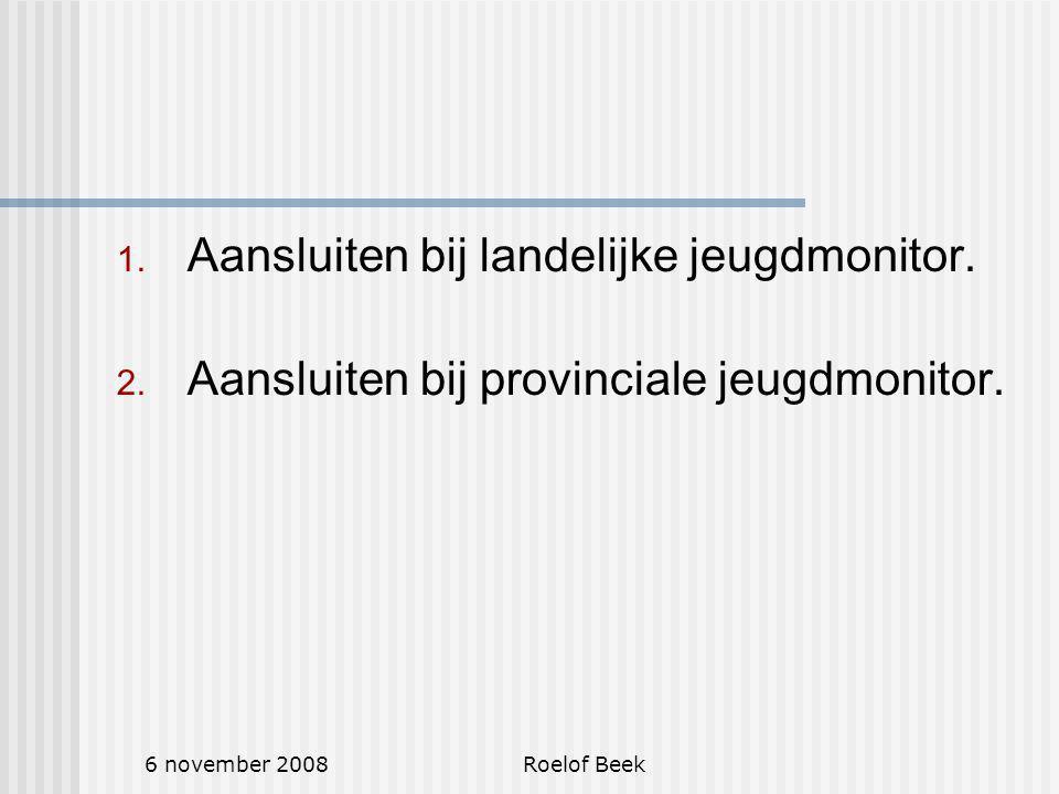 6 november 2008Roelof Beek 1. Aansluiten bij landelijke jeugdmonitor.