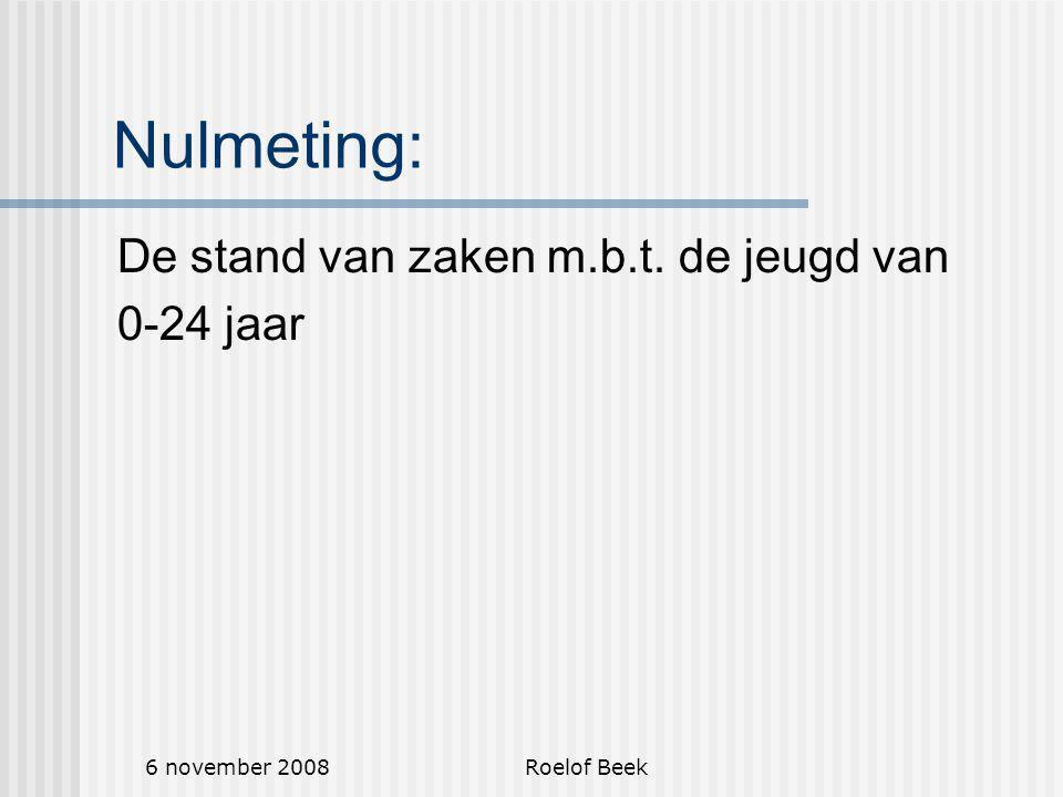 6 november 2008Roelof Beek Nulmeting: De stand van zaken m.b.t. de jeugd van 0-24 jaar
