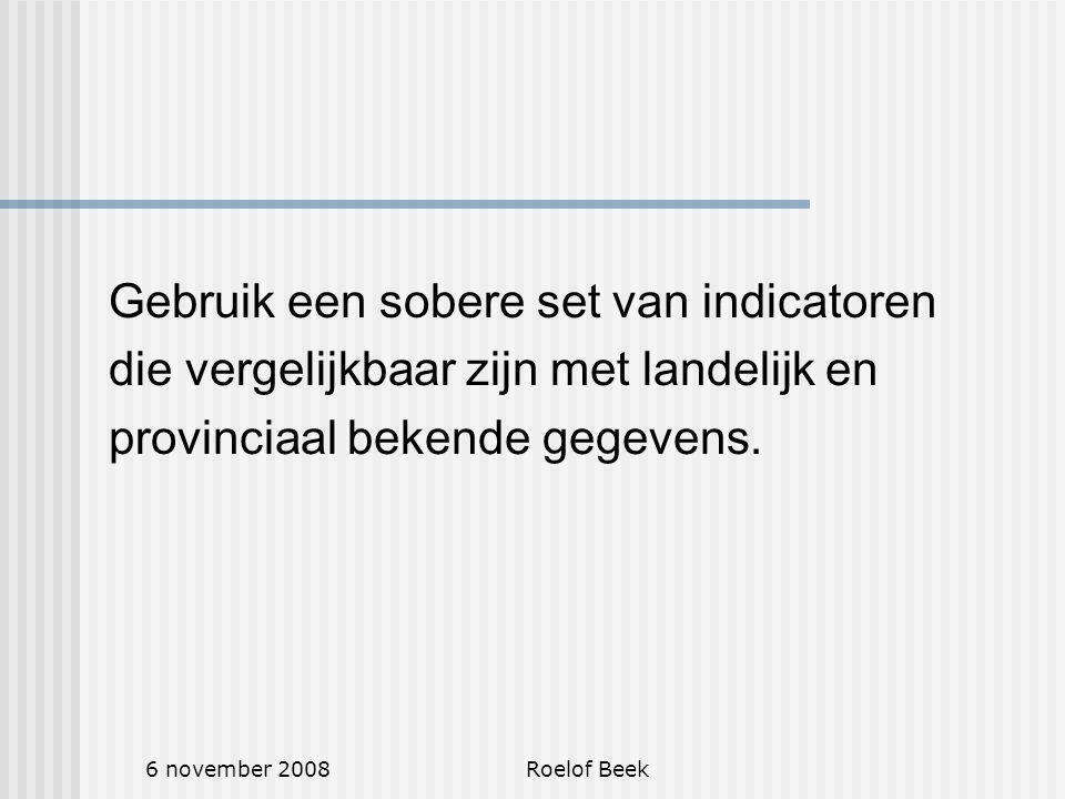 6 november 2008Roelof Beek Gebruik een sobere set van indicatoren die vergelijkbaar zijn met landelijk en provinciaal bekende gegevens.