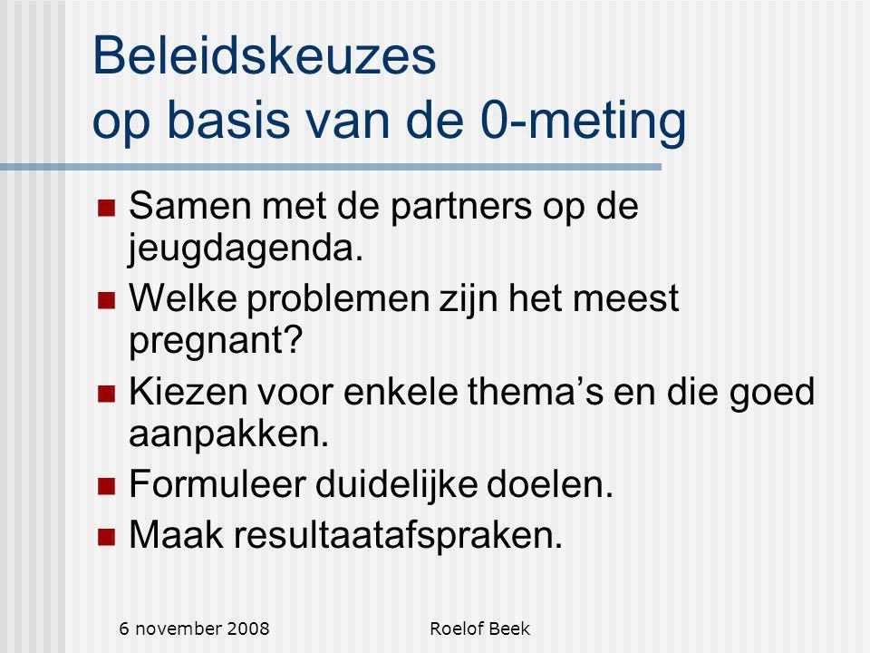 6 november 2008Roelof Beek Beleidskeuzes op basis van de 0-meting Samen met de partners op de jeugdagenda.
