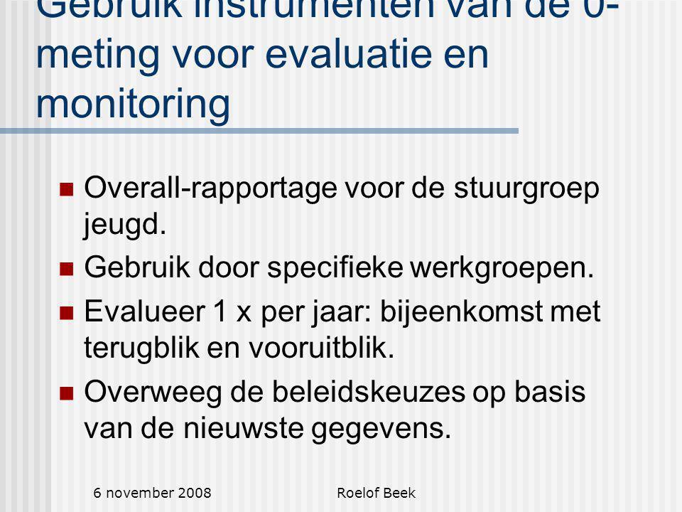 6 november 2008Roelof Beek Gebruik instrumenten van de 0- meting voor evaluatie en monitoring Overall-rapportage voor de stuurgroep jeugd.