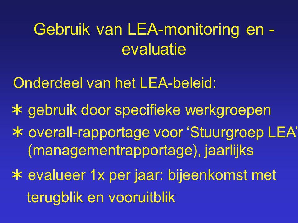 Gebruik van LEA-monitoring en - evaluatie  overall-rapportage voor 'Stuurgroep LEA' (managementrapportage), jaarlijks  gebruik door specifieke werkgroepen  evalueer 1x per jaar: bijeenkomst met terugblik en vooruitblik Onderdeel van het LEA-beleid: