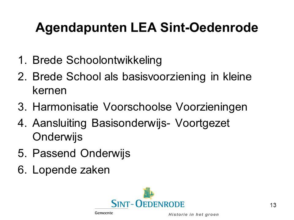 Agendapunten LEA Sint-Oedenrode 1.Brede Schoolontwikkeling 2.Brede School als basisvoorziening in kleine kernen 3.Harmonisatie Voorschoolse Voorzienin