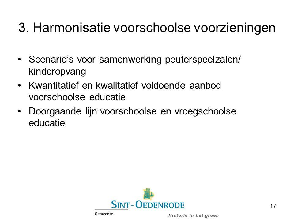 3. Harmonisatie voorschoolse voorzieningen Scenario's voor samenwerking peuterspeelzalen/ kinderopvang Kwantitatief en kwalitatief voldoende aanbod vo