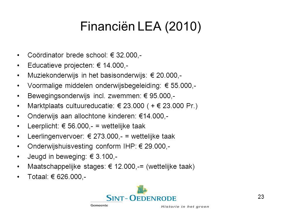 Financiën LEA (2010) Coördinator brede school: € 32.000,- Educatieve projecten: € 14.000,- Muziekonderwijs in het basisonderwijs: € 20.000,- Voormalig