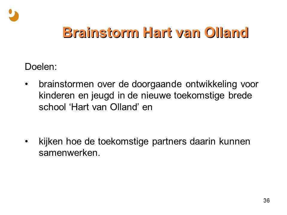 Brainstorm Hart van Olland Doelen: brainstormen over de doorgaande ontwikkeling voor kinderen en jeugd in de nieuwe toekomstige brede school 'Hart van