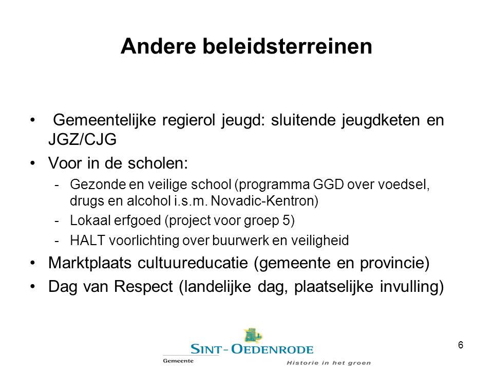 Andere beleidsterreinen Gemeentelijke regierol jeugd: sluitende jeugdketen en JGZ/CJG Voor in de scholen: -Gezonde en veilige school (programma GGD ov