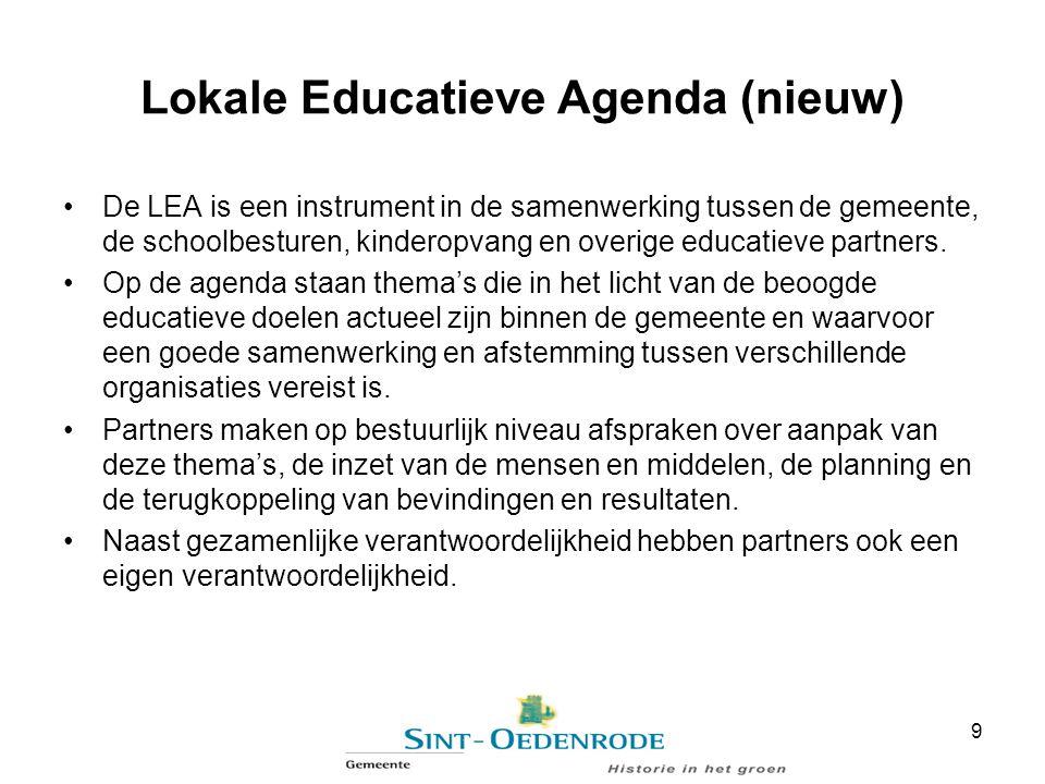 Lokale Educatieve Agenda (nieuw) De LEA is een instrument in de samenwerking tussen de gemeente, de schoolbesturen, kinderopvang en overige educatieve